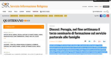Perugia, terzo seminario di formazione sul servizio pastorale alle famiglie