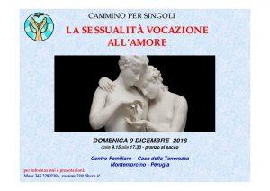 9 Dicembre 2018 – Giornata di spiritualità per SINGLES